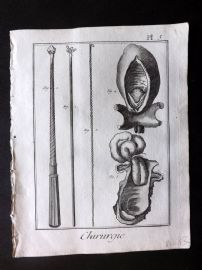 Diderot 1780's Antique Medical Print. Chirurgie 05 Surgical Instruments